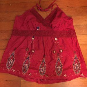 Torrid Embroidered Tomato Red Halter Top Sz 4x